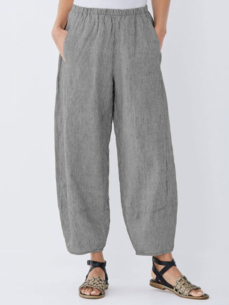 Cotton Solid Medium Waist Plus Size Shift Pants