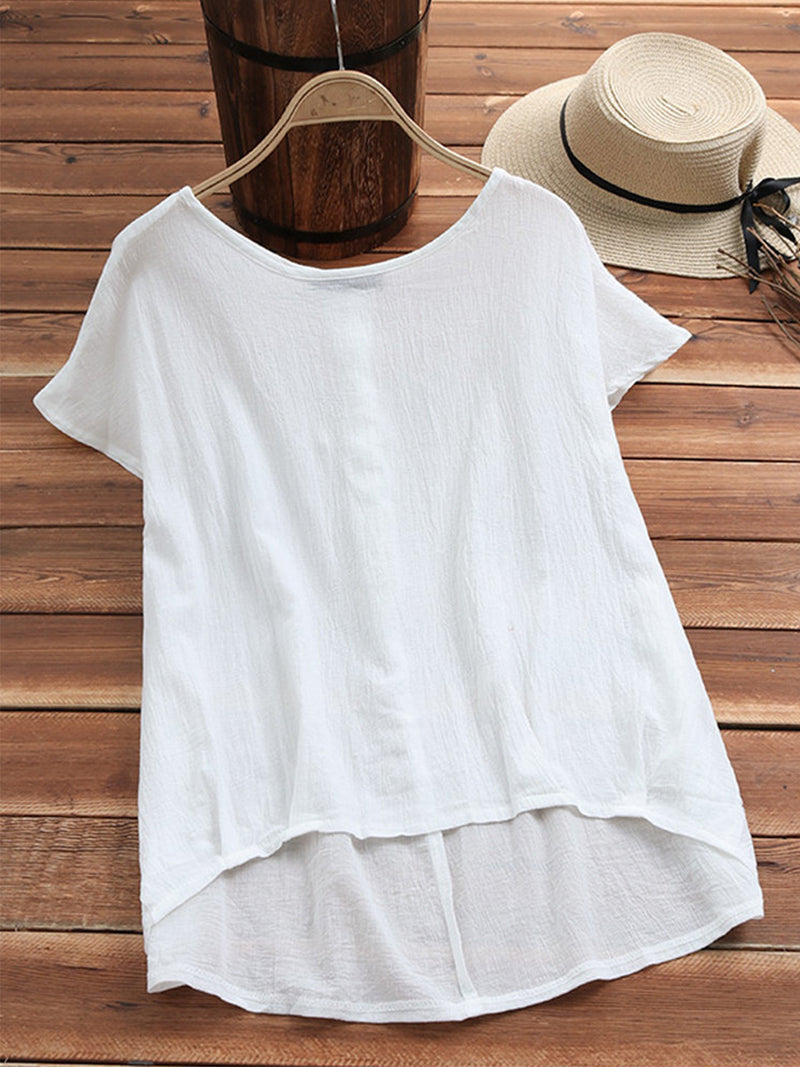 Solid Linen Round Neck Short Sleeve Woven Plus Size T-shirt