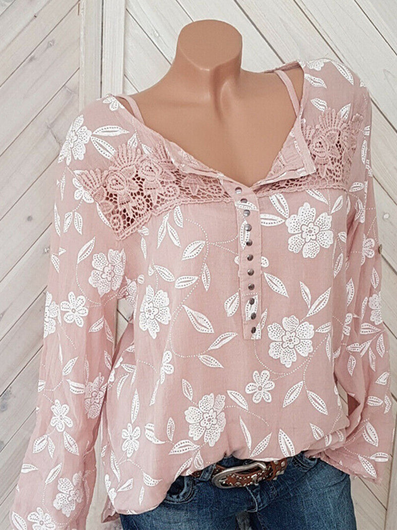 Floral Round Neck Long Sleeve Rivet Plus Size Loose Blouse