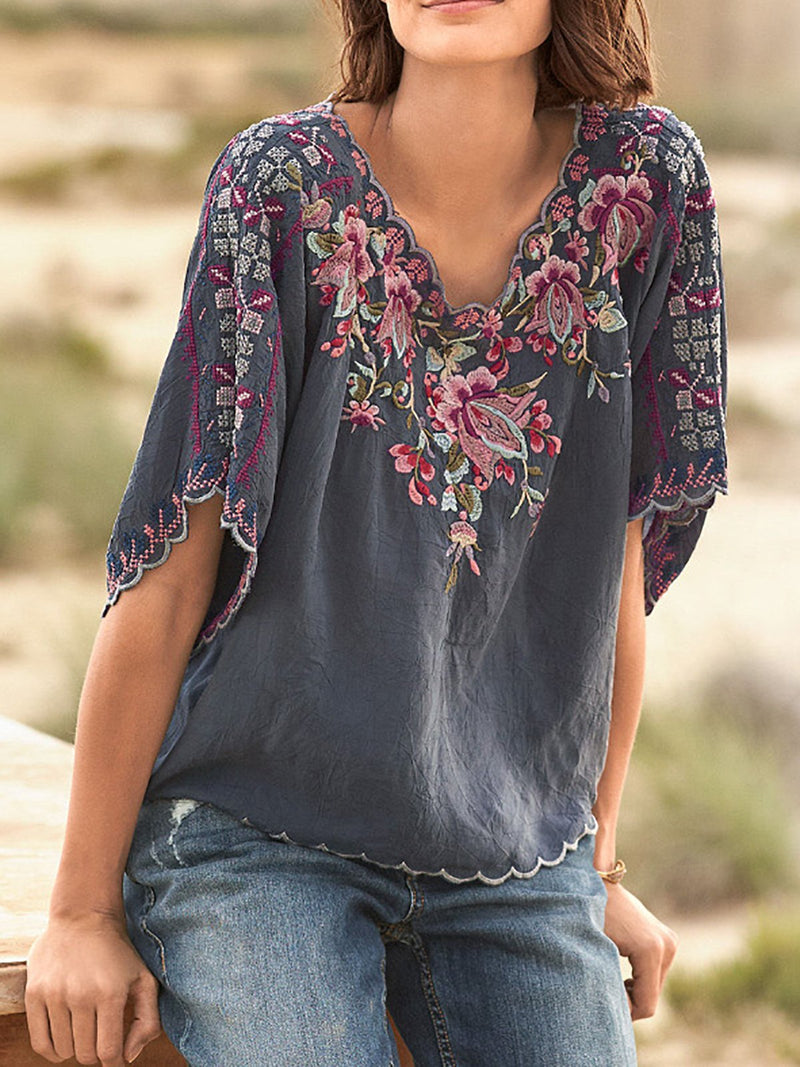 Spring/Summer Embroidery Floral Loose Wave Hem Blouse