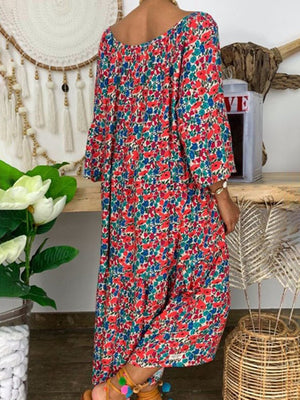 Multicolor Floral Print Asymmetric Hem 3/4 Sleeve Dress