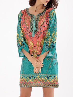 Lightblue Folk Print Bohemia Tassel Summer Mini Dress