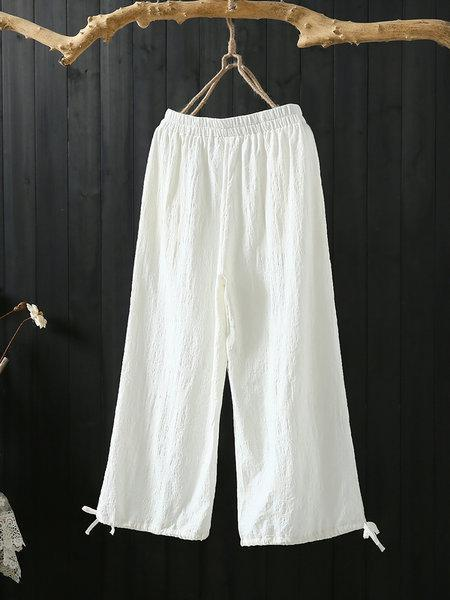 Elastic Waist Draw-String Cuff Solid Loose Shift Pants