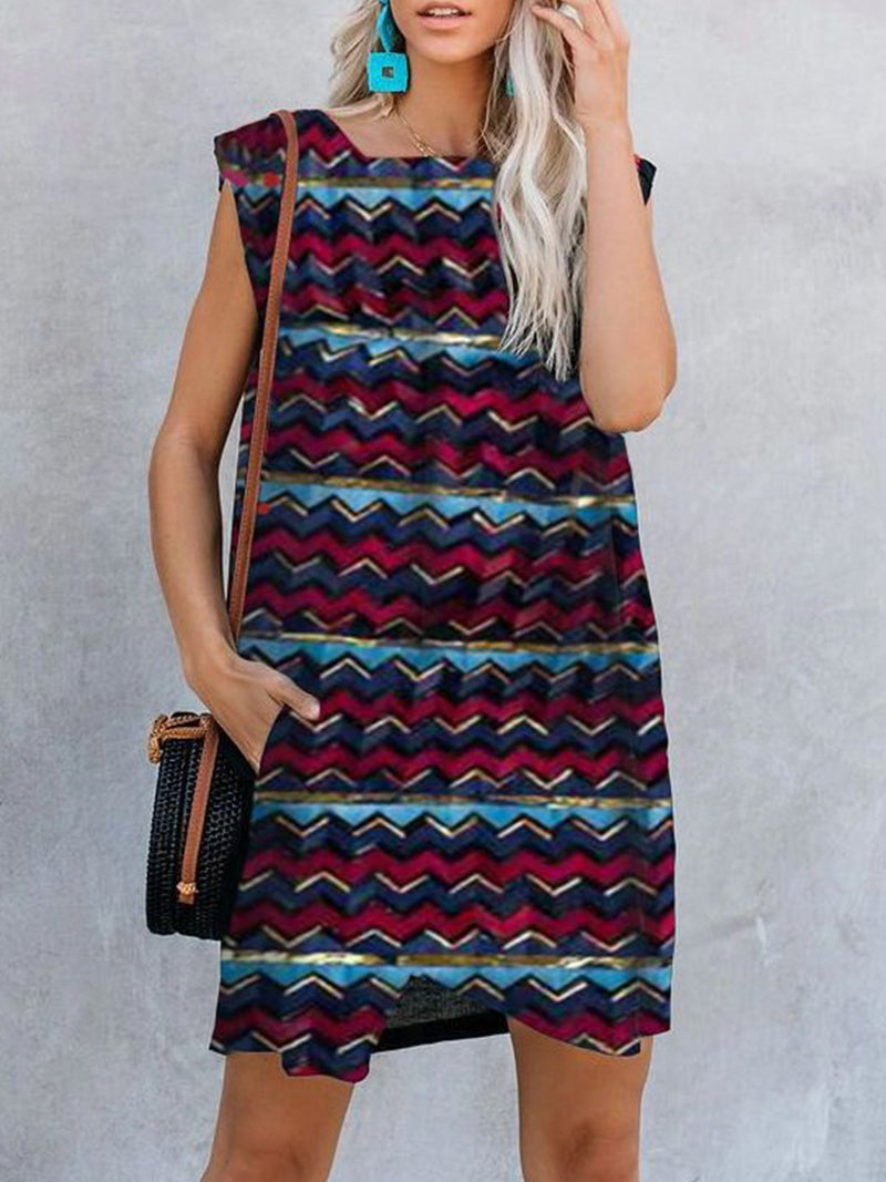 Multicolor Wave Print Square Neck Pocket A-Line Dress