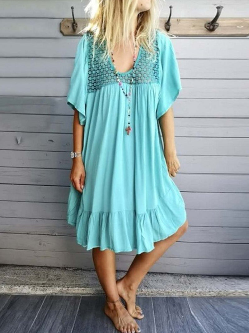 Solid Half-Sleeved Gathering Ruffle Hem Asymmetric Dress