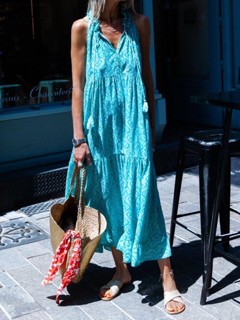 Blue Floral Print Vintage Sleeveless Tassel Ruffle Hem Dress
