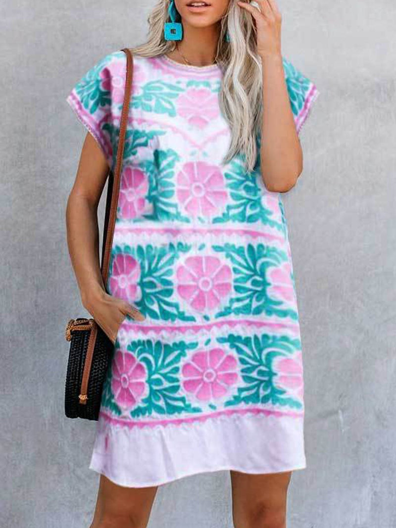 Round Neck Bohemian Straight Print Dress