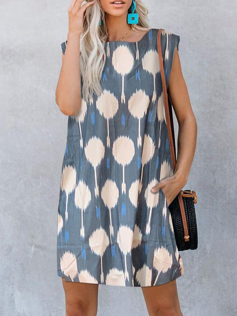 Blue Print Sweet Sleeveless Pocket Mini Dress