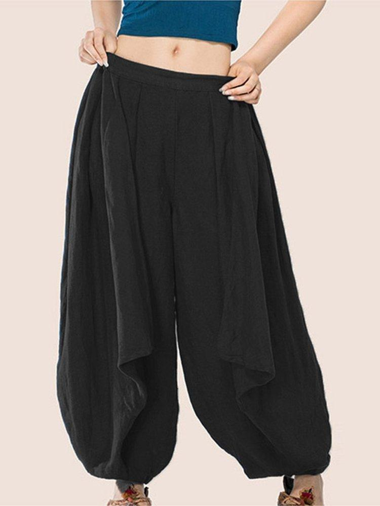 Plus Size Solid Color Elastic Waist Wide-Legged Casual Harem Pants