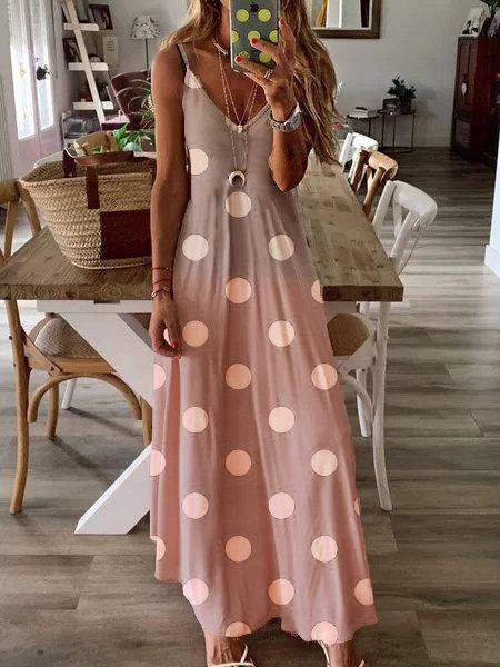 Sweet Gradient Polka Dot Print Sleeveless Sling Maxi Dress