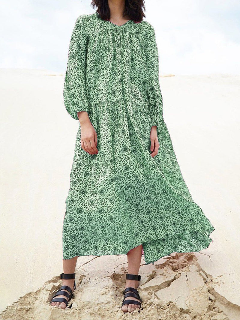 Summer Bohemia Floral Print Long-Sleeved Swing Maxi Dress