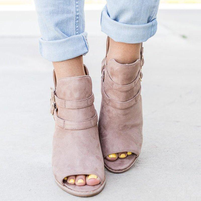 Peep-Toe Wedges Faux Suede Wedge Heel Adjustable Buckle Sandals