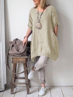 Cotton/Linen Round Neck Asymmetric Hem Top