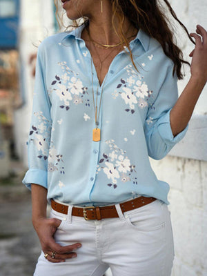 White Floral Print Fashion Long Sleeve V Neck Shirt