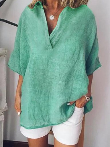 Linen Short sleeves Solid Color Blouse
