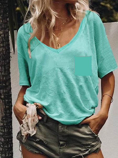 Solid Color Short Sleeves T-shirt