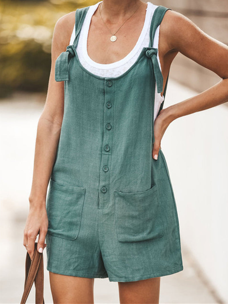 Solid Patch Pocket Knotted Shoulder Strap Linen/Cotton Shorts Jumpsuits