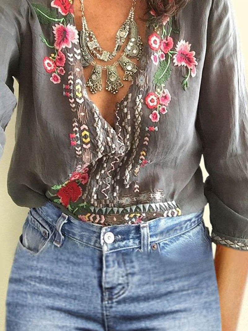 Fashion Print Flower V Neck Crop Sleeve Top