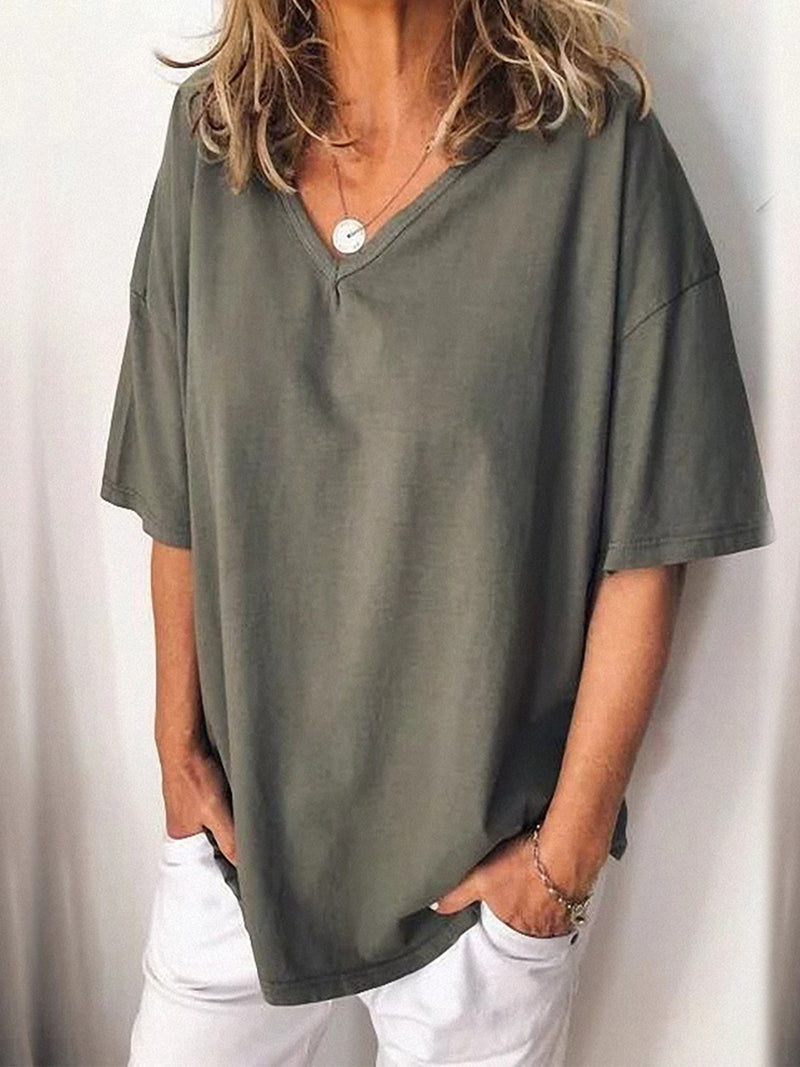 Pullover V Neck Casual Blouse