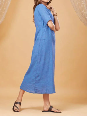 Buttoned Shoulder Half-Sleeve Pocket Solid Shift Dress