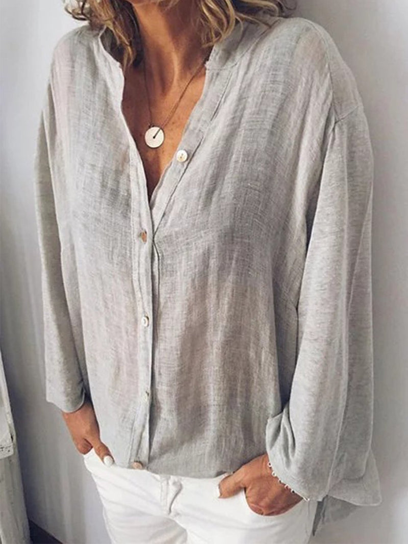 Women Linen Button-down V Neck Stand Collar Casual Shirt