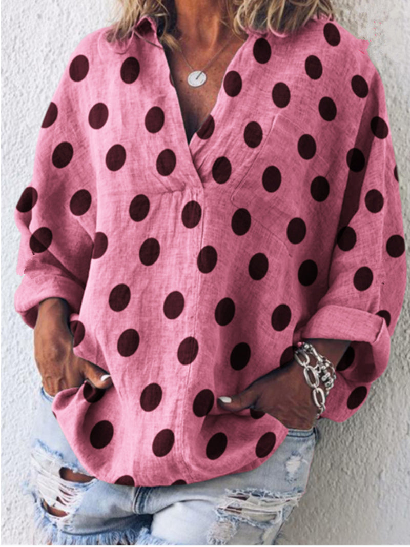 Polka Dot Linen/Cotton V Neck Blouse