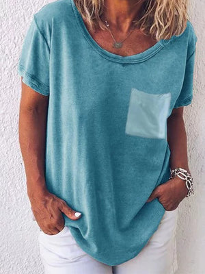 Pocket Solid Short Sleeve T-shirt