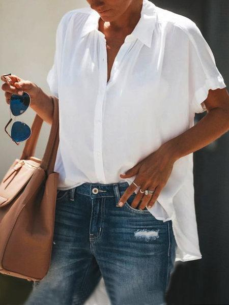 Solid Color Button-Down Short Sleeve Casual Loose Shirt