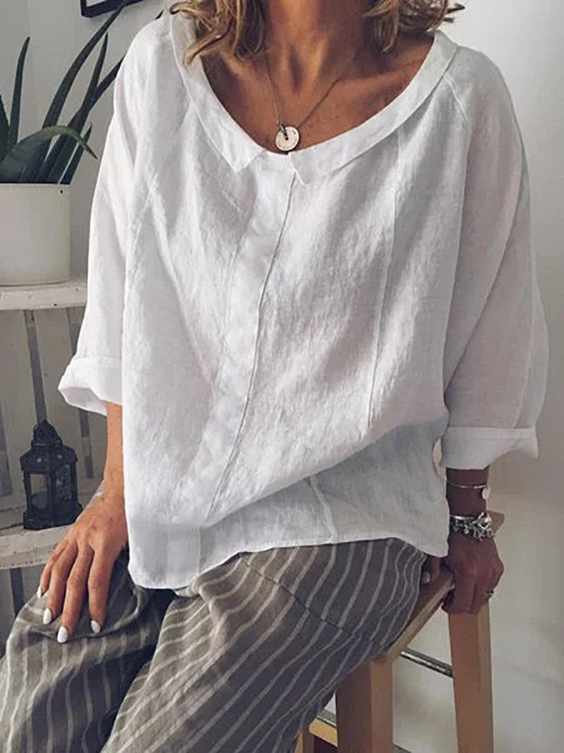 Solid Wide Peter Pan Collar Pullover Cotton Shirt