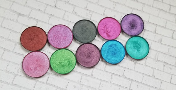 shade beauty, eyeshadow, vegan makeup, cruelty free makeup, swatches, shimmery eyeshadow, sparkly eyeshadow, metallic eyeshadow, neutral eyeshadow, nude eyeshadow, indie makeup, artisan makeup, self made, self made pressed eyeshadow, duochrome eyeshadow, chameleon eyeshadow, multichrome eyeshadow, blue eyeshadow, purple eyeshadow, pink eyeshadow, colorful eyeshadow