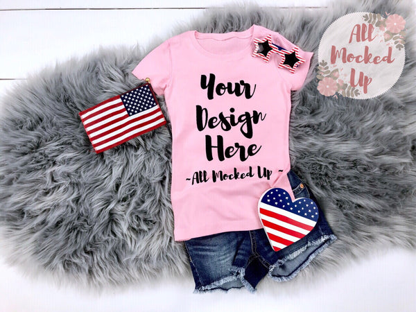 Next Level 3710 Youth LIGHT PINK T-shirt Tshirt Mock Up MockUp Image  - Flat Lay Image - Flatlay - 4th of July Theme - 3/19