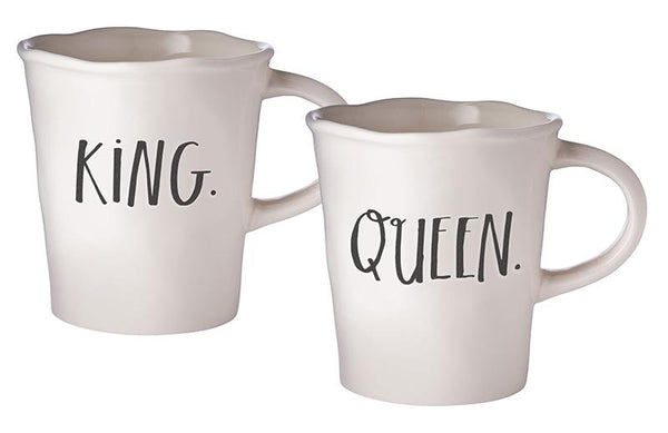 Stem Print KING + QUEEN Cafe Mugs (Set of 2)