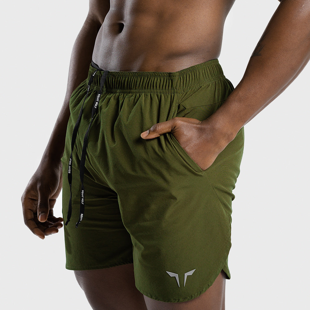 Squat Wolf 2 in 1 Dry Tech Shorts Olive - Workout Crew Athletic Online