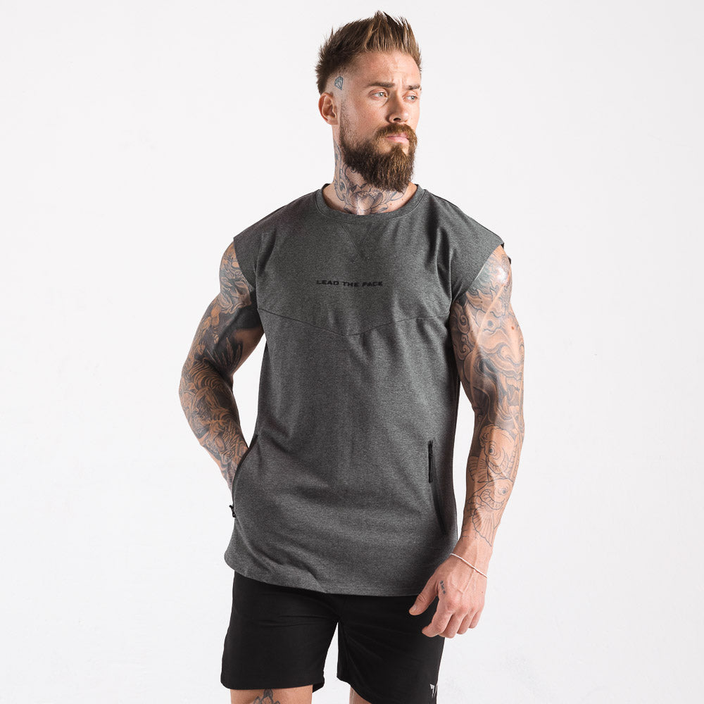 Squat Wolf Statement Drop Shoulder Top - Grey - Workout Crew Athletic Online