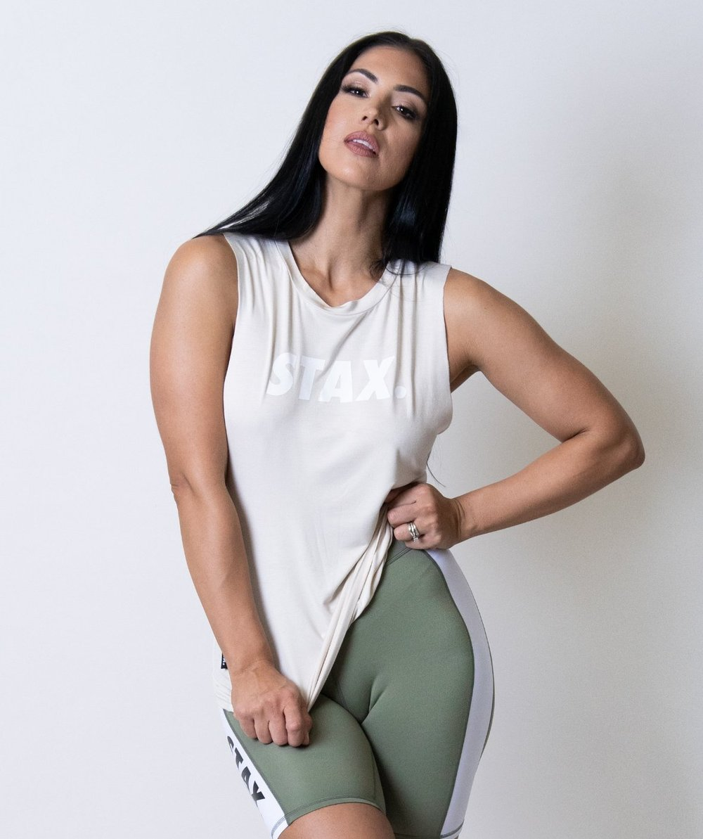 Stax. Luxe Wmns Relax Tank - Cream - Workout Crew Athletic Online