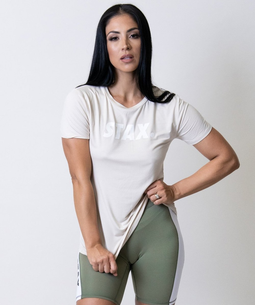 Stax. Luxe Wmns Relax Tee - Cream - Workout Crew Athletic Online