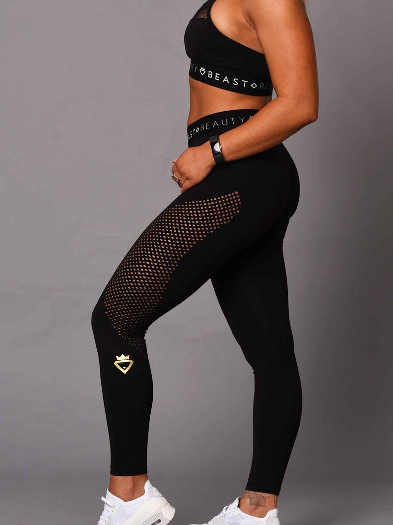 Beast & Beauty Lazer Cut Legging - Black - Workout Crew Athletic Online
