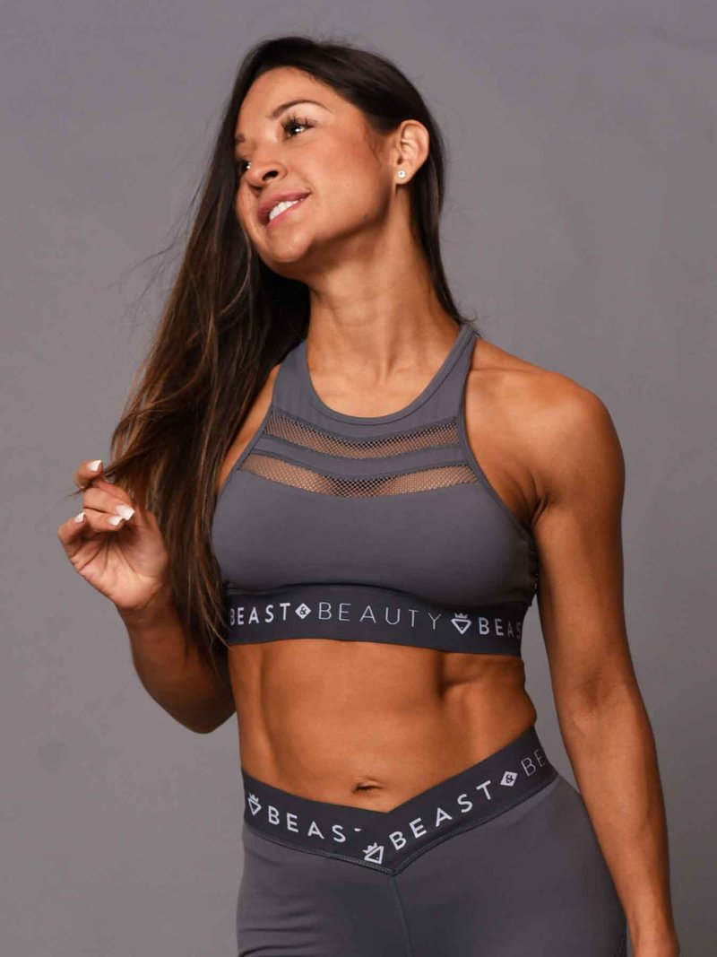 Beast & Beauty V Mesh Crop Top - Grey - Workout Crew Athletic Online