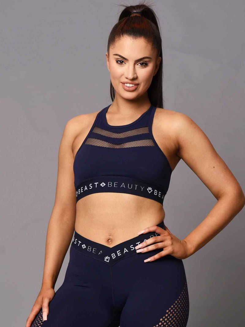 Beast & Beauty V Mesh Crop Top - Midnight Blue - Workout Crew Athletic Online