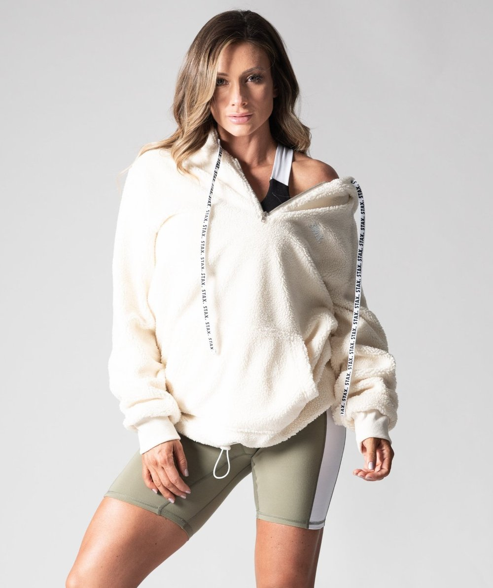 Stax. Wmns Luxe Boyfriend Sherpa Hoodie - Cream - Workout Crew Athletic Online