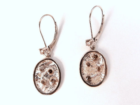 Reticulated Silver and Diamond Earrings