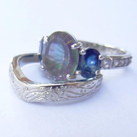 14kt White Gold Mystic Topaz, Sapphire & Diamond Wedding Set