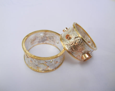 Gold and Silver Ring Set before being Oxidized