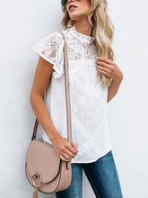 Load image into Gallery viewer, High Neck Hollow Out Plain Blouses