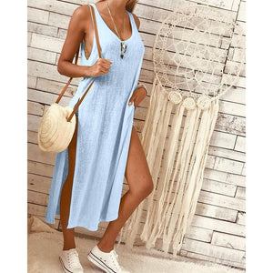 2019 Round Collar Plain Loose Soft Vacation Dress