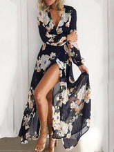 Load image into Gallery viewer, Bohemia Deep V Collar Printing Long Sleeves Beach Vacation Dress