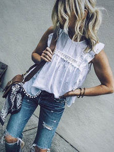 Fashion White Round Neck  Plain  Blouses