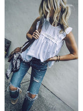 Load image into Gallery viewer, Fashion White Round Neck  Plain  Blouses