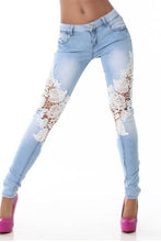Load image into Gallery viewer, Patchwork Lace Pegged Jeans