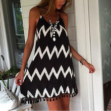 Load image into Gallery viewer, Black & White Wavy Stripes Tassel Sexy Sling Vacation Dress